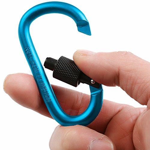 Assorted Size D Shape Aluminum Carabiner Clip Fishing Artbun 40 Pcs Carabiner Clip D Ring Bottle Lightweight Hook Keychain for Hiking Spring Loaded Gate Backpack