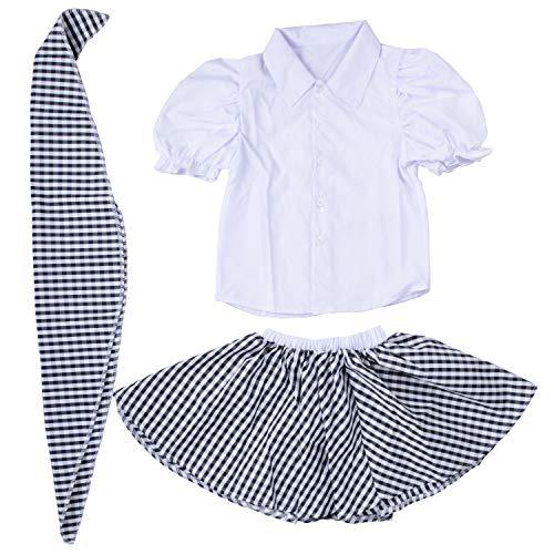 - Wraith of East Girls Plaid Skirt Gingham Dress Bubble Short Sleeve Scarf White Top 50'S Rockabilly (M, Black)