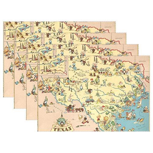 (XiangHeFu Placemats Texas State Map Cartoon Pattern 12x18 inch Set of 6 Non Slip Heat Resistant for Dinning Table)