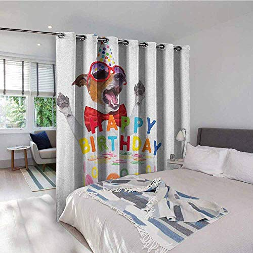 Kids Birthday Pole Wearing Gromets Curtain Drapes for Girls Room, Party Dog at Suprise Birthday Party with Cone Hat and Glasses Photograph Fun Décor Darkening Curtains, Multicolor, W96 x L72 Inches
