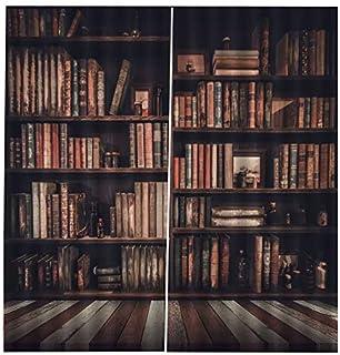 VCB Bücherregal Wohnzimmer Digitaldruck 3D Blackout Vorhang Aquarell Fenster Dekor - Multicolor
