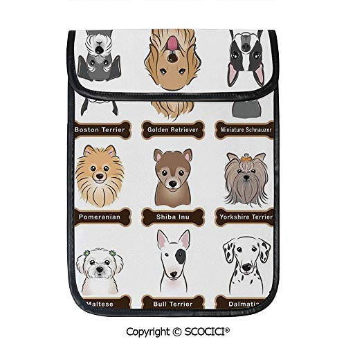 SCOCICI Protective Storage Carrying Sleeve Case - Various Type of Dogs Nameplate Boston Terrier Domestic Animal Faithful Loyal Compatible with 12.9 Inch iPad Pro Tablet