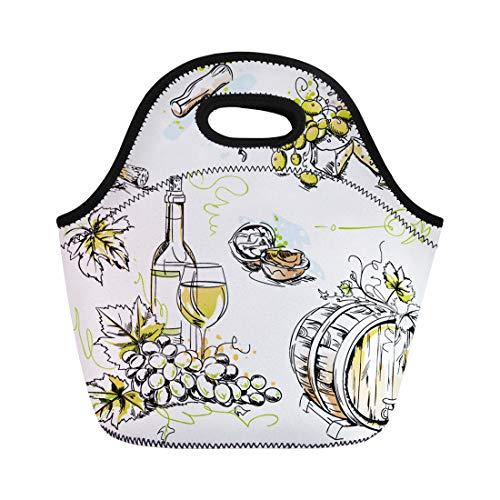 - Semtomn Lunch Bags Wine Tasting Sketch Pen and Ink Watercolor Drawings Neoprene Lunch Bag Lunchbox Tote Bag Portable Picnic Bag Cooler Bag