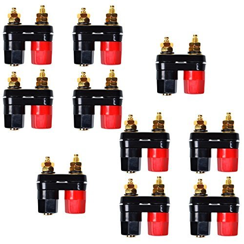 [Ellami 20pcs Black and Red Plastic Shell Speaker Terminal Binding Post Power Amplifier Dual 2-way Banana Plug] (Car Costume Cardboard Box)