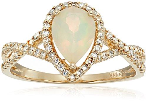 14k Yellow Gold Ethiopian Opal and Diamond Solitaire Infi...