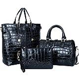 Women Handbag,Women Bag,KINGH Crocodile PU Leather 3 Pcs Tote Handbag Purse Set 102 Black