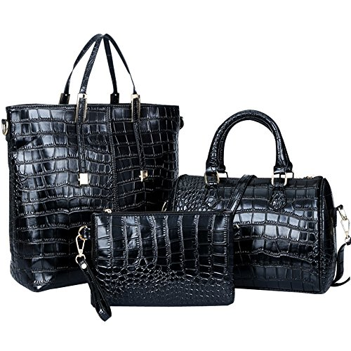 Women Handbag,Women Bag,KINGH Crocodile PU Leather 3 Pcs Tote Handbag Purse Set 102 Black