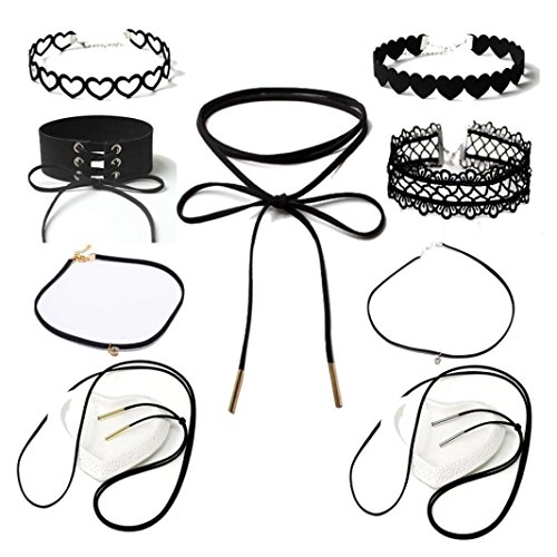 - Gotd 9 Pieces Choker Necklace Set Stretch Velvet Classic Gothic Tattoo Lace Choker (Black)