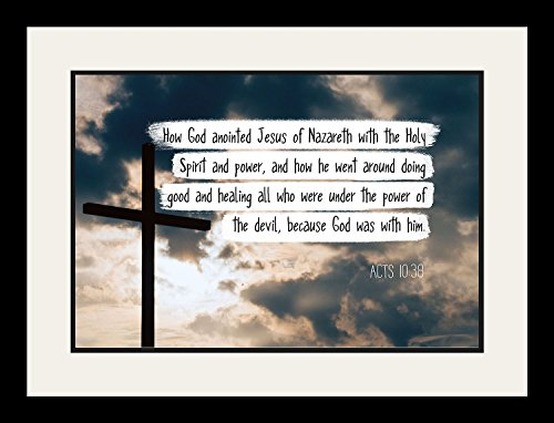 Acts 10:38 How God anointed Jesus - Christian Poster, Print, Picture or Framed Wall Art Decor - Bible Verse Collection - Religious Gift for Holidays Christmas Baptism (19x25 Framed)