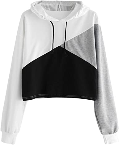 Howstar Women's Hoodies Sweatshirt, Patchwork Casual Hooded Pullover Womens  Tops Fashion Cute Shirt at Amazon Women's Clothing store