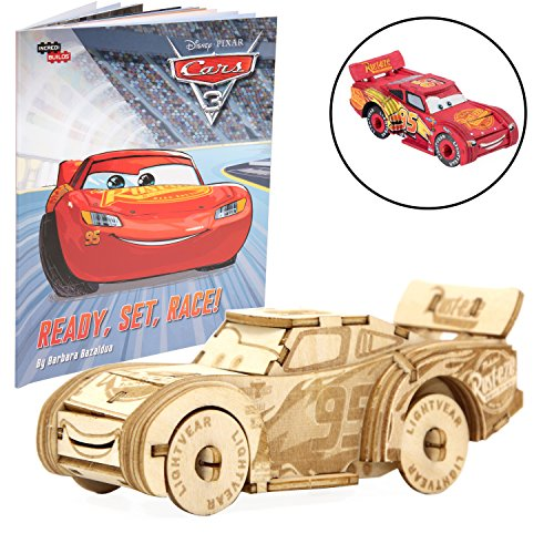 Disney Pixar Cars Lightning McQueen Book and 3D Wood Model Kit - Build, Paint and Collect Your Own Wooden Model - Great for Kids and Adults, 8+ - 4