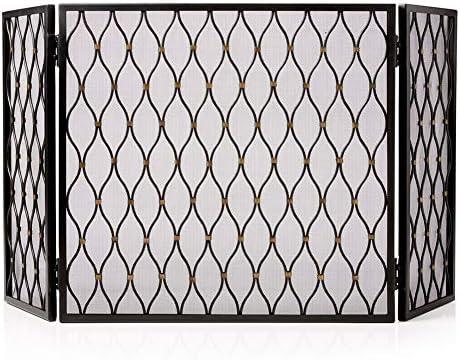 暖炉スクリーン モダンでエレガント 暖炉スクリーン 3パネル - 折りたたみ ファイアースクリーン 屋外の装飾 ブラック フェンススパークガード プレザントハース暖炉アクセサリ (Color : Black)