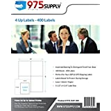 "975 Supply Labels - 4 up Labels - Packaged in Re-Usable Box - Shipping/Mailing Labels - 5-1/2"" x 4-1/4"" Labels - 400 Labels"