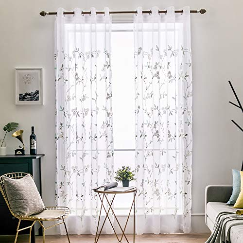 MIULEE 2 Panels Embroidered Sheer Window Peach Blossom Design Grommet Curtains Window Voile Panels/Drape/Treatment for Bedroom Living Room (54X84 Inch White)