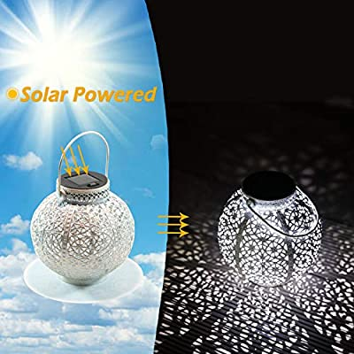 SteadyDoggie Solar Lanterns 2 Pack - Hanging Solar Lights with White LED - Retro Ornate Hanging Solar Lantern with Handle 4 Lumens : Garden & Outdoor