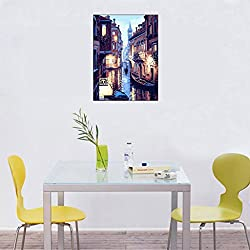 Yumian Dream-Hand-Painted Oil Paintings, DIY Paint By Numbers Venice Night Landscape Digital Oil Painting Canvas Decor Framed Modern Abstract Wall Art Paintings for Wall Decorations Home Decorations