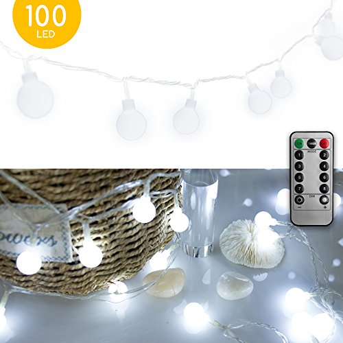 33 FT 100 LED Globe Ball String Lights, Fairy String Lights Plug in with Remote, Decor for Indoor Outdoor Party Wedding Christmas Tree Garden (White) (Lights Christmas Led Hut)