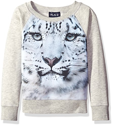 The Children's Place Little Girls' Printed Pullover Sweatshirt, Snow Leopard/Gray, X-Small/4