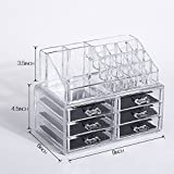 Maphissus Acrylic Organizer Drawer Makeup Large Cosmetic Organizer Storage Case Drawer Bags Clear, Medium with Deep Drawers & Acrylic for Nail Polish Holder