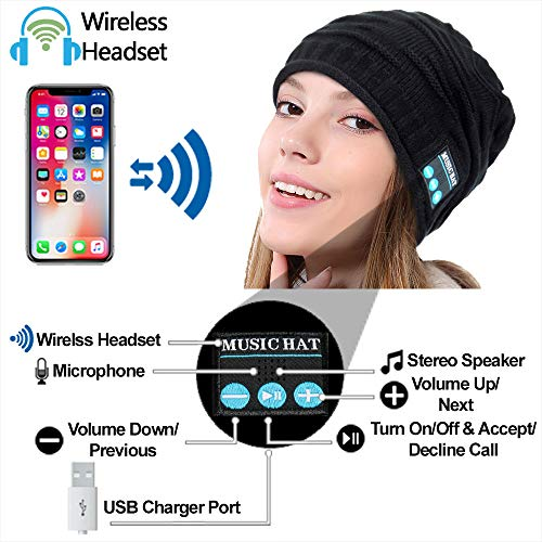 Upgraded Wireless Bluetooth Beanie Hat with Headphones V5.0, Unique Christmas Tech Gifts for Teen Boys/Girls/Boyfriend…