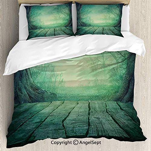 AngelSept 3-Piece Bed Set Duvet Cover Set,Spooky Scary Dark Fog Forest with Dead Trees and Wooden Table Halloween Horror Theme Print,Full Size,Lightweight Bedspread for Spring and Summer,Blue ()