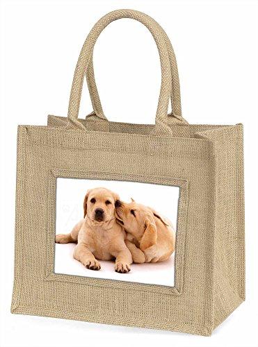 Advanta gelb Labrador Hunde Große Einkaufstasche/Weihnachten Geschenk, Jute, beige/natur, 42x 34,5x 2cm