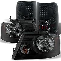 Ford F150 F-150 Pickup Truck Black Smoked Headlights + Smoke LED Tail Lights Brake Lamps Replacement