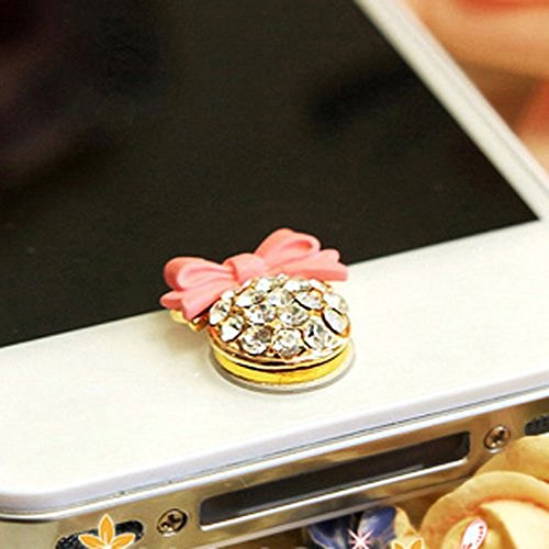 niceeshop(TM) Pink Bow with Bling Rhinestone Home Button Sticker for iPhone iPad iPod