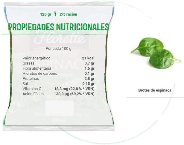 Florette Bolsa para Ensalada Brotes Espinaca, Especial Ensaladas, 125 Gramo