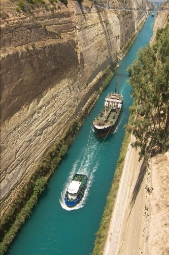 Boats in Corinth Channel Greece Journal: 150 page lined notebook/diary ()