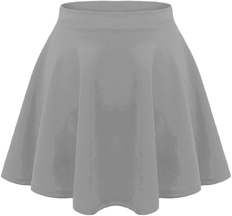 Lyzafashion Kids Girls Children New Plain Flippy Flared High Waistband Stretch Short Mini Skater Skirts