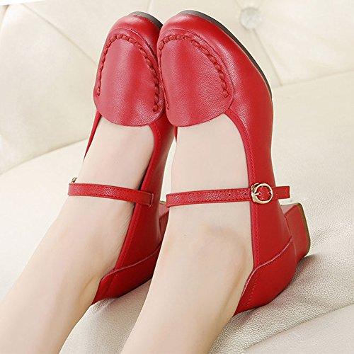 Stiefeletten Arten 1 Mittlerer Boden Tanzschuhe 2 Von Stilen Herbst Weicher Absatz Atmungsaktiv Farbe Red 2 Frauen PENGFEI Damen schuhe Schuhe Farben wxzRtZE