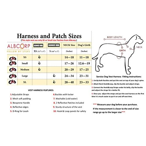 lovely Albcorp Reflective Service Dog Vest Harness, Woven Nylon, Neoprene Handle, Adjustable Straps, with Comfy Mesh Padding, and 2 Hook and Loop Removable Patches, XS to XL sizes. Red/Black/Gray/Blue