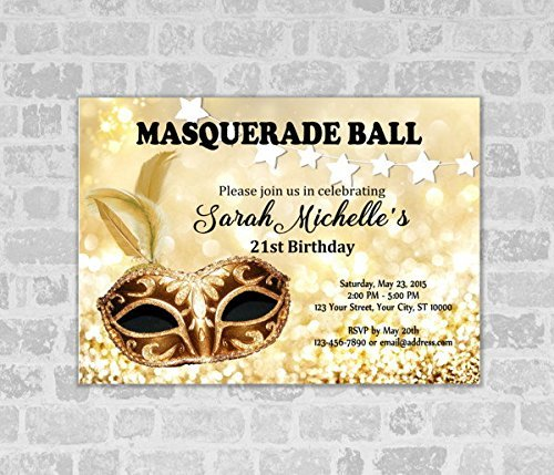 Mardi Invitations Gras Birthday (Masquerade Ball Invitation, Mardi Gras, Sparkly Gold Masquerade Ball Birthday Invitation, 21st, 30th, Adult Birthday Invitation,)