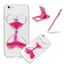 Liquid Case for iPhone 6S Plus,For iPhone 6 Plus Glitter Love Heart Case,Herzzer Luxury Funny Creative 3D Sandglass Liquid Quicksand Glitter Sand Moving Crystal Soft Gel Protective Back Cover Case