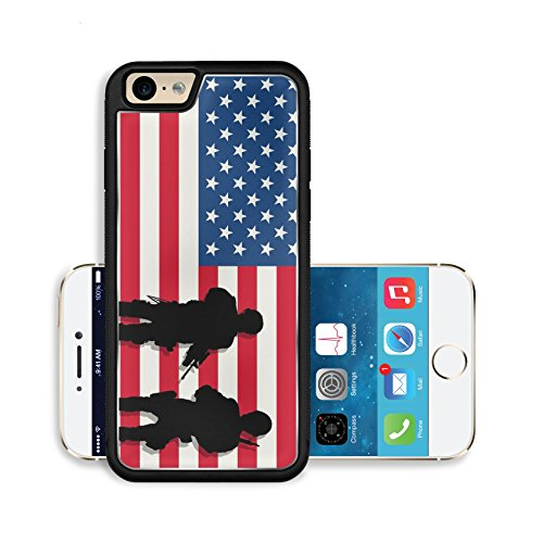 Liili Premium Apple iPhone 6 iPhone 6S Aluminum Backplate Bumper Snap Case IMAGE ID: 11917141 Armed soldiers silhouettes over american flag background