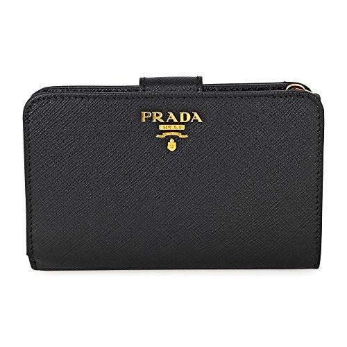 Prada Bi-fold Zip Saffiano Leather Wallet - Black