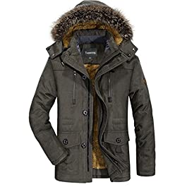 Men's Winter Warm Faux Fur Lined Coat with Detachable Hood