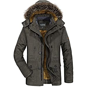 Tanming Men's Winter Warm Faux Fur Lined Coat with Detachable Hood