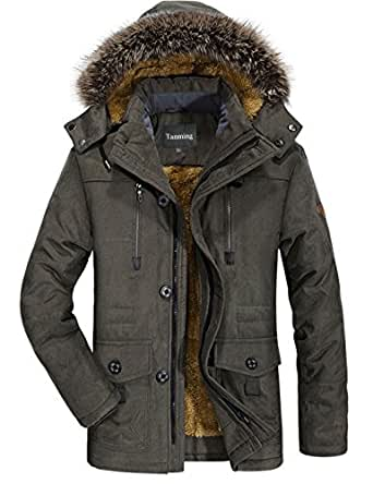 Tanming Men's Winter Warm Faux Fur Lined Coat with Detachable Hood (X-Small, Army Green)
