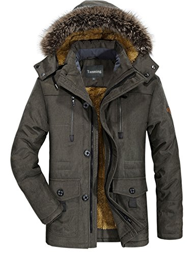 Tanming Men's Winter Warm Faux Fur Lined Coat with Detachable Hood (X-Large, Army Green)