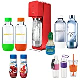 SodaStream Source Soda Maker(Metal) in Red with Exclusive Kit w/ 4 Bottles & Starter CO2, 2 Hydro Bottles Purple, Water Fruits w/ Berry Mix & Pink Grapefruit Flvr & Togo Cup Mug Orange