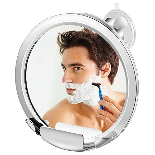 Jerrybox Fogless Mirror with Built-in Razor Holder, Fog-Free Bathroom Shaving Mirror with Powerful Locking Suction, 360 Degree Rotating Adjustable Arm for Easy Viewing, Guaranteed by Jerrybox