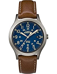 Timex Women's Casual Expedition Mid-Size Scout TW4B11100GP Blue Dial and Brown Leather Band Watch