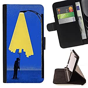 Momo Phone Case / Flip Funda de Cuero Case Cover - Pintura Art City Light Wall Street Lamp Post - Sony Xperia Z5 Compact Z5 Mini (Not for Normal Z5)