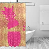 Pink and Gold Shower Curtain ZOEO Pineapple Shower Curtain Mermaid Backdrop Pink Bling Rose Gold Bathroom Shower Curtain Set Fabric Bridal 12 Hooks for Women 60x72 Inch