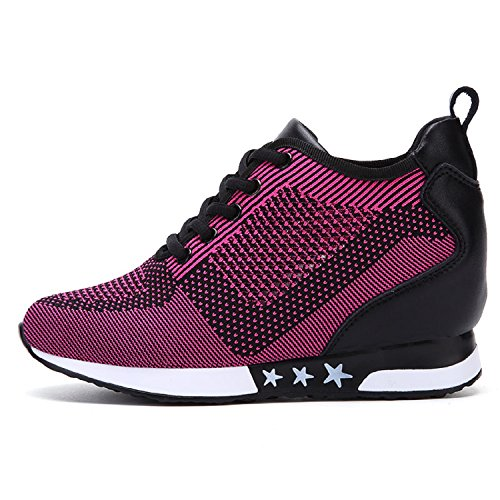 TQGOLD Womens Hidden Wedges High Top Sneakers Height Increase Elevator Shoes High Heels Fashion Mesh Purple