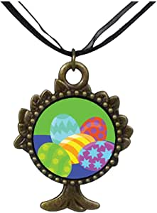 Chicforest Bronze Retro Style Colorful Easter Eggs The Tree Of Life And Wishing Pendant