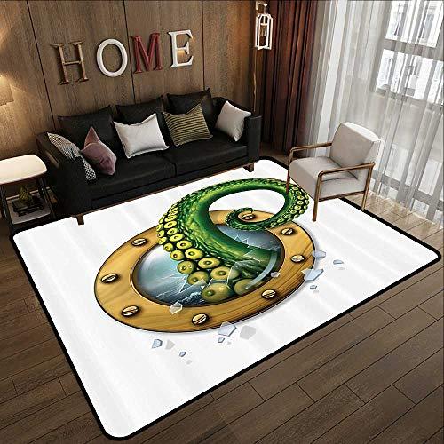 - American Floor mats,Nautical Decorations Collection,Ship Porthole Octopus Kraken Tentacles Broken Glass Stormy Ocean,Green White 71