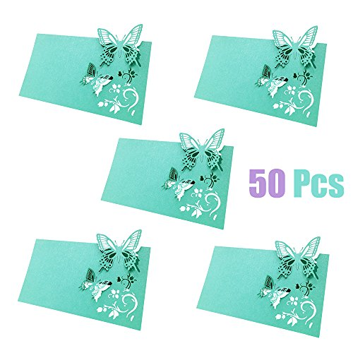 ly Name Place Card Paper Place Table Numbers Guest Seating Name Cards for Wedding Party Decoration (Robin's Egg Blue) (Vine Place Card)
